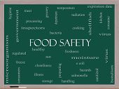 stock photo of e coli  - Food Safety Word Cloud Concept on a Blackboard with great terms such as hazards e coli cooking and more - JPG