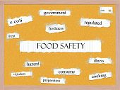 foto of e coli  - Food Safety Corkboard Word Concept with great terms such as meat kitchen consume and more - JPG