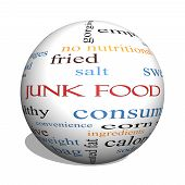 stock photo of high calorie foods  - Junk Food 3D sphere Word Cloud Concept with great terms such as chip snacks calories and more - JPG