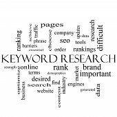Keyword Research Word Cloud Concept In Black And White