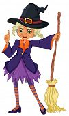Illustration of an old witch holding a broomstick on a white background