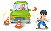 Illustration of a car accident and a mechanic on a white background