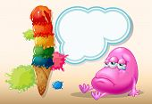 Illustration of a sad beanie monster near the giant icecream