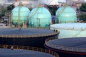 picture of ozone layer  - photo of  storage oil tanks in Oil refinery - JPG