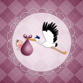 picture of stork  - an illustration of stork with baby girl postcard - JPG