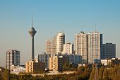 stock photo of tehran  - Skyline of Tehran shot in the morning light - JPG