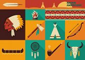 picture of indian chief  - American Indian set of icons - JPG
