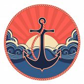 Nautical Label With Anchor And Sea Waves
