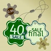 green sale labels in vector