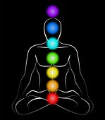 stock photo of plexus  - Illustration of a meditating man in yoga position with the seven main chakras - JPG