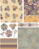 Floral Vector Seamless Patterns and Elements. Use as fills, digital paper, or print off onto fabric
