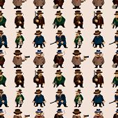 stock photo of gangsta  - seamless cartoon mafia people pattern background  - JPG