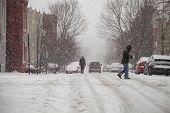 Snow Storm Pedestrians