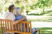 Loving couple sitting on bench in a park