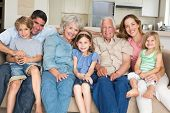 Portrait of multigeneration family spending leisure time at home