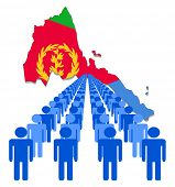 Lines of people with Eritrea map flag vector illustration