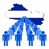Lines of people with El Salvador map flag vector illustration