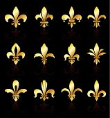 picture of fleur de lis  - Fleur De Lis Design Collection Original Vector Illustration - JPG