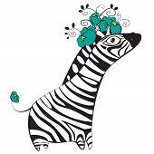 Zebra with flowers