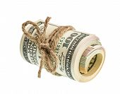 Rolled American Dollar Banknotes Isolated On White
