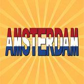 Amsterdam flag text with sunburst vector illustration