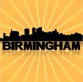 Birmingham skyline reflected with sunburst vector illustration