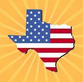 Texas map flag on yellow sunburst illustration