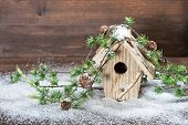 Birdhouse And Christmas Tree Brunch Decoration