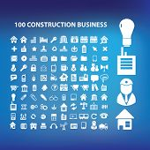 100 construction business, architecture, real estate icons, signs set, vector