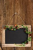 Chalkboard On Wooden Wall With Christmas Tree Bruch