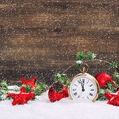 Christmas Decoration Red Stars, Baubles And Golden Clock