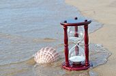 sand timer and seashell on seashore