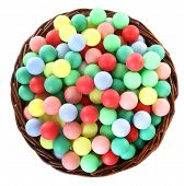 Wicker basket full of colorful balls