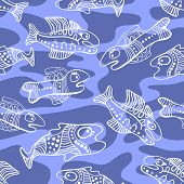 Seamless Pattern Abstract Fish In The Sea