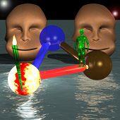 Green Alien In Front Of Two Strange Heads
