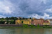 Details of Florence architecture along banks of river Arno, Tuscany