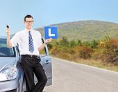 Male driver holding l sign and a car key on an open road shot with tilt and shift lens