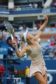 Professional tennis player Caroline Wozniacki during third round match at US Open 2014
