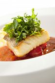 Halibut Fillet with Tomato Sauce and Rucola