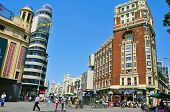 MADRID, SPAIN - AUGUST 11: Gran Via and Plaza Callao on August 11, 2014  in Madrid, Spain. Gran Via