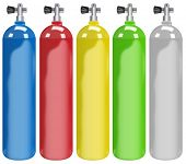 Illustration of five different colors tanks