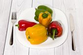 Colored Fresh paprika on the plate