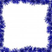 blue frame from tinsel isolated on white background