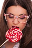 Young brunette with lollipop