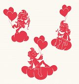 foto of cherubim  - silhouette of loughing cupid holding two heart bow and arrow - JPG
