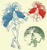 picture of samba  - silhouettes of a attractive  samba dancer queen - JPG
