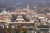 ZAGREB, CROATIA - OCTOBER 14: Aerial view of Zagreb, the capital of Croatia on October 14, 2007 Zagr