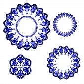 Set of circular ornaments with winter snowflakes