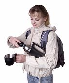 Pretty Girl With Holding Thermos
