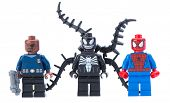 Ankara, Turkey - January 24, 2014: Lego Marvel super heroes including spiderman, venom and Nick Fury